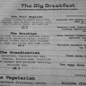 Electrik Big Breakfast Menu